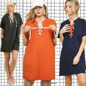 Umgee Burnt Orange Lace Up T-Shirt Dress 2XL